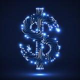 Symbole au néon abstrait de dollar Images libres de droits