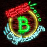 Symbole au néon d'or de bitcoin d'isolement sur le fond noir Argent de Digital, concept de technologie minière Photo libre de droits