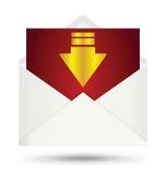 Symbole blanc de flèche d'or d'enveloppe Photos stock