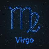 Symbole bleu brillant d'astrologie Vierge de zodiaque illustration stock