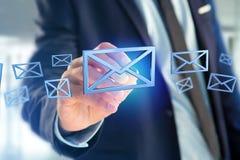 Symbole bleu d'email montré sur un fond de couleur - rendu 3D Photos stock
