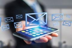 Symbole bleu d'email montré sur un fond de couleur - rendu 3D Photo libre de droits