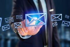 Symbole bleu d'email montré sur un fond de couleur - rendu 3D Images libres de droits