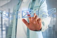 Symbole bleu d'email montré sur un fond de couleur - rendu 3D Photographie stock libre de droits
