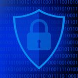 Symbole bleu de protection de Web sur le fond du code binaire illustration stock