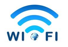 Symbole bleu de réseau sans fil avec la terre Images stock
