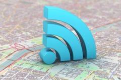 Symbole bleu de WiFi au-dessus d'une carte Image stock