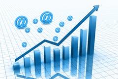 Symbole bleu du graphique 3d et des affaires Photographie stock