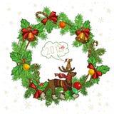 Symbole boże narodzenia i rok są prześladowanym, okręgu wianek, dwa, zero, jeden, osiem royalty ilustracja