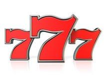 Symbole chanceux 3D de gros lot du rouge 777 Illustration Libre de Droits