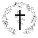 Symbole chrétien d'Illyustartsiya - une croix dans une guirlande illustration stock