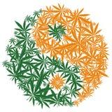 Symbole coloré de feuille de cannabis de Yin Yang de conception de marijuana Vecteur Photographie stock