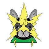 Symbole comique de voyou dans le costume avec le masque jaune de foudre dedans et le costume vert comme caractère de bouledogue f Images stock