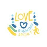 Symbole courant de logo de sport d'amour Illustration tirée par la main colorée Image libre de droits
