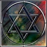 Symbole d'étoile de David et de verre taillé de menorah Photographie stock libre de droits