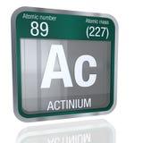 Symbole d'actinium dans la forme carrée avec la frontière métallique et le fond transparent avec la réflexion sur le plancher 3d  Photographie stock libre de droits