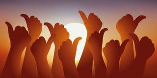 Symbole d'adhérence avec plusieurs mains avec le pouce soulevé devant un coucher de soleil illustration stock
