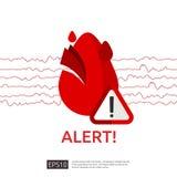 symbole d'alerte de crise cardiaque de danger icône d'impulsion de battement de coeur ou de battement cardiologie de soin de coeu illustration de vecteur