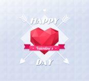 Symbole d'amour Bas-poly style coloré Origami rouge Images stock