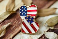 Symbole d'amour de l'Amérique sur le bois Photographie stock libre de droits