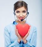 Symbole d'amour de prise d'opérateur de centre d'appels de femme de Saint Valentin r Photo stock