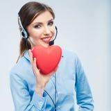 Symbole d'amour de prise d'opérateur de centre d'appels de femme de Saint Valentin r Photos stock