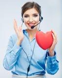 Symbole d'amour de prise d'opérateur de centre d'appels de femme de Saint Valentin r Photos libres de droits
