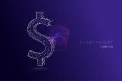 Symbole d'argent de devise d'USD Photo stock