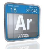 Symbole d'argon dans la forme carrée avec la frontière métallique et le fond transparent avec la réflexion sur le plancher 3d ren Image stock