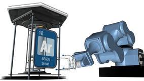 Symbole d'argon dans la forme carrée avec le bord métallique devant un bras mécanique qui tiendra un conteneur chimique 3d renden illustration libre de droits