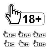 Symbole d'avertissement de geste de main d'avis de limite d'âge Photographie stock