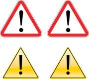 Symbole d'avertissement de signe d'étiquette d'exclamation Photo stock