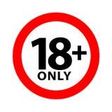 symbole d'avertissement de 18 signes d'isolement sur le fond blanc, plus de 18 plus seulement censuré, un contenu adulte interdi illustration libre de droits