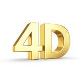 Symbole 4D d'or d'isolement sur le blanc Photos libres de droits