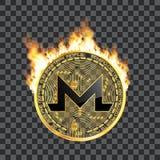 Symbole d'or de crypto bitcoin de devise sur le feu Photo stock