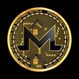 Symbole d'or de crypto monero de devise Photo stock