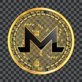 Symbole d'or de crypto monero de devise Images libres de droits