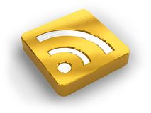 Symbole d'or de RSS Photographie stock libre de droits