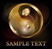 Symbole d'or de yang de Yin sur le noir Image stock