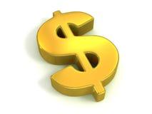Symbole d'or du dollar Image libre de droits