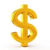 Symbole d'or du dollar Images libres de droits