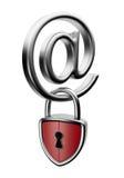 Symbole d'email avec le blocage 3D. Concept de garantie illustration stock