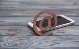 Symbole d'email et numéro de téléphone Images stock