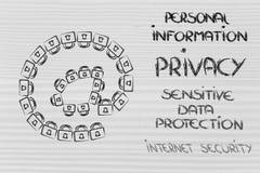Symbole d'email fait de serrures : sécurité d'Internet et I confidentiel Image stock
