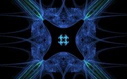Symbole d'emblème de fractale de fleur cosmique avec quatre pétales tourbillonnant pétales rouges et jaunes et une petite étoile  Photos stock