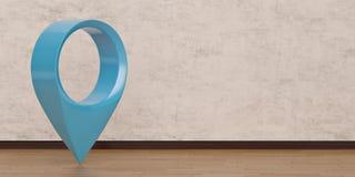 symbole d'emplacement 3D sur le plancher en bois illustration 3D illustration stock