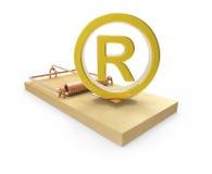 symbole 3d enregistré par or sur la souricière à clapet Photos libres de droits