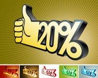 Symbole d'escompte ou d'amélioration sur la main stylisée 20% Images libres de droits