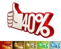 Symbole d'escompte ou d'amélioration sur la main stylisée 40% Photos stock