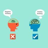 Symbole d'homme d'affaires et pensée positive avec la pensée négative Image stock